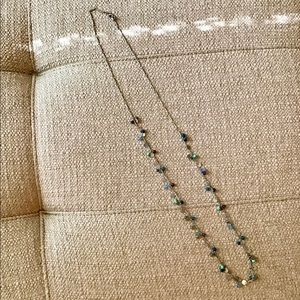 Delicate Silver Necklace W/Blue, Teal Beads